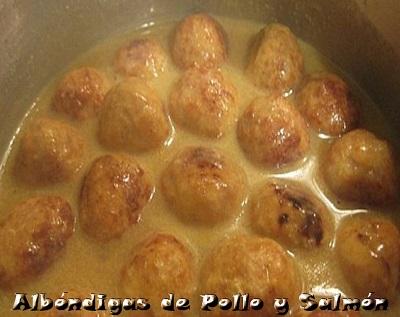 Alb贸ndigas de pollo y salm贸n