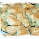 Tacos de pechuga de pollo ba帽ada en queso cabrales